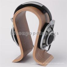 Preço de fábrica Custom Counter Top N Shape Supermarket Cheap Bamboo Wood Single Headphone Display