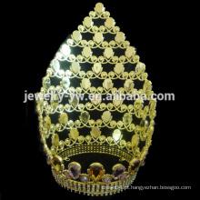 Moda grande alto diamante pageant tiara coroa