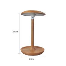 Candeeiro de mesa led de madeira ajustável em forma de cogumelo
