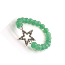 Green Aventurine Gemstone Bracelet with Diamante alloy star Piece