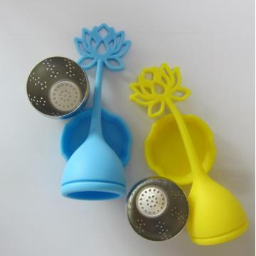Green Tea Infuser Material Safe Silicone Lotus Handle