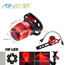Red Light 3 Modes 100%-50%-Flash 1W LED Bike Tail Light LED Rechargeable