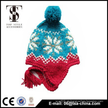 Klassischer Winter warmer Strick Weihnachtsschneeflockehut