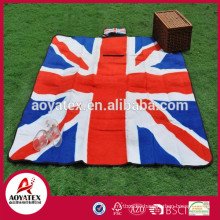 National flag printing polar fleece custom portable waterproof folding picnic blanket