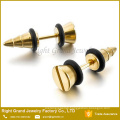 Fashion 316L Surgical Steel Gold PVD Plated Screw knot Fake Plugs