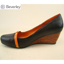 Haixin Beverley high quality leather wedge pumps shoes for women