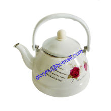 Emaille Teekanne mit Kunststoffgriff und vollem Design