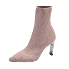 New design wholesale women pu leather matching Knitting high heels winter ankle boots outdoor ladies casual shoes