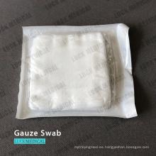Almohadilla de algodón médica con hisopo de algodón de gasa
