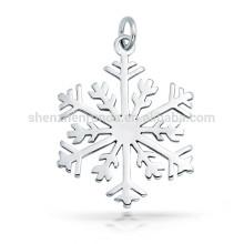 Alto acabamento polido floco de neve pingente de presente de Natal encanto