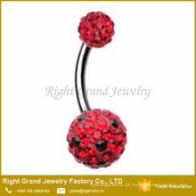 O cristal preto de aço vermelho cirúrgico pontilhou a barra da barriga do umbigo de Shamballa da bola