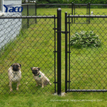 Black vinyl coated chain link fence and gate with various fence design