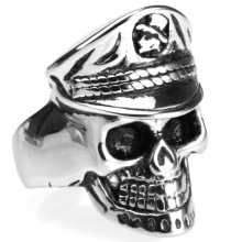 Factory Outlet Distressed navy skull vingerring