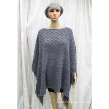 Woman New Fashion Silver Striped Acrylic Knitted Winter Poncho (YKY4501)
