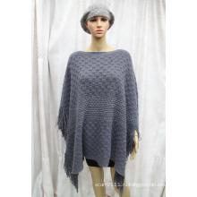 Женщины новая мода Серебряный полосатый зима акриловые трикотажные пончо (YKY4501)