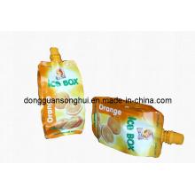 Sac de jus / sac liquide avec sac de plastique à bec et jus