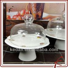 Suporte para bolo de cerâmica com tampa de vidro