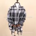 home use grey and white plaid wool throw blanket