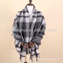 uso doméstico manta de lã de xadrez cinza e branco