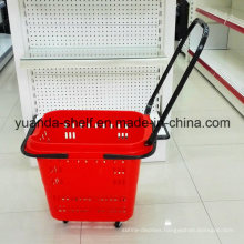 Color Plastic Supermarket Shopping Rolling Wheel Basket