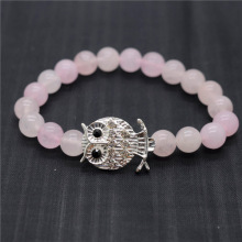 Rose Quartz 8MM Round Beads Stretch Gemstone Bracelet with Diamante alloy Owl Piece
