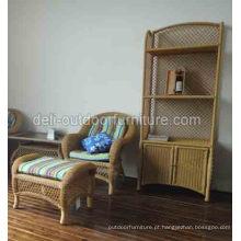 Mobília ao ar livre do armário armário alumínio Rattan Bookrack estante