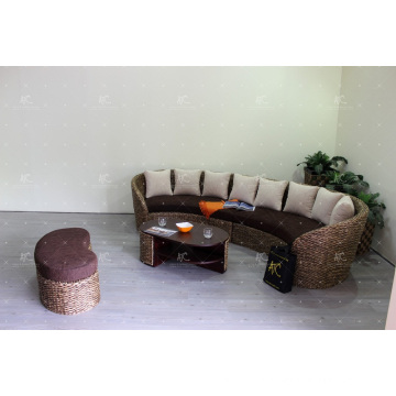 Natural Water Hyacinth C-Shape Sofa Set for Indoor Furniture