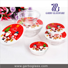 New Design 5PCS Glass Bowl Set with Father Christmas Design on Lid