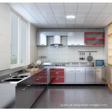Armário de cozinha em forma de aço em forma de L