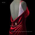 Vestido de noite de veludo de seda vermelha brilhante estilo aberto para trás 2017