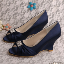 Peep Toe Wedding Wedge Heel Navy Satin Schoenen