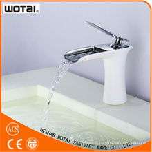 Deck Mounted White Color Single Lever Basin Faucet