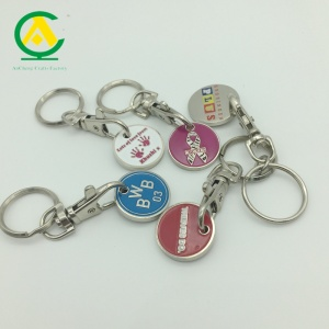Customized Logo Shopping Cart Coin Key Chain