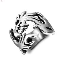 Anillos dragón de la declaración Loong chino vintage de acero inoxidable