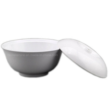 Round White Melamine Bowl with Lid