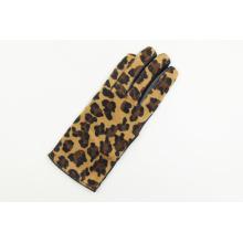 Ladies Fashion Warmer Warm Bow Leopard Print Leather Gloves