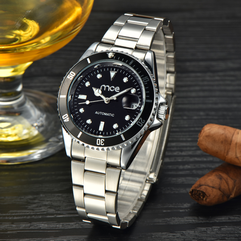 luxury automatic logo mechanical men wrist watch