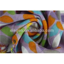 Acrylic leaves printed lady Long big scarf with fringe