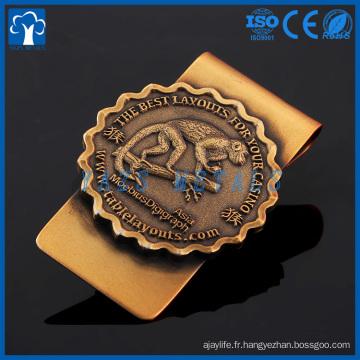 cadran en or antiquité personnalisé argent clip métal