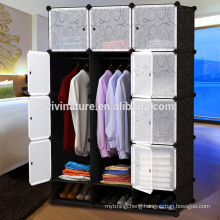 DIY 12 Cube Portable Closet Storage Organizer Clothes Wardrobe Cabinet With Doors