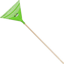 Garden Tools Reinforced Plastic Head Leaf Rake with Wooden Handle