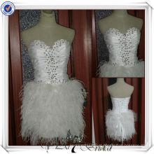 JJ0044 Vestido de noiva com decote de doces cheio Vestido de casamento curto Fatia de pena