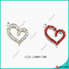Zinc Alloy Crystals Broken Heart Charm (SPE)