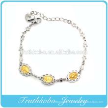 TKB-B0077 Usine Fabrication En Acier Inoxydable Argent Floral Or Jésus Charme Étoile Lien Lien Chaîne Avec Coeur Allonger Bracelet