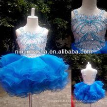 Vestido de la muchacha de flor de la falda del Organza de la tapa con estilo de NW-418