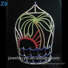 Colored Rhinestone Pageant Tiara Crown Tree Shaped Tiara
