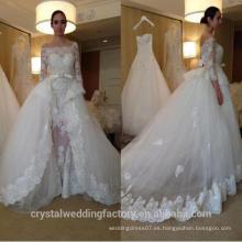 Sexy vaina encaje de apliques ver a través de puro tul vestido de novia con falda desmontable CWF2432