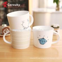 Taza decorativa de cerámica barata de encargo de la nueva china de hueso