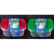 Plástico rectangular para llevar Contenedor de alimentos para microondas 64oz