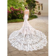 Vestido De Noiva Elegant Appliqued Lace Big Train Mermaid Lace Bridal Weddding Dress 2017 MW972